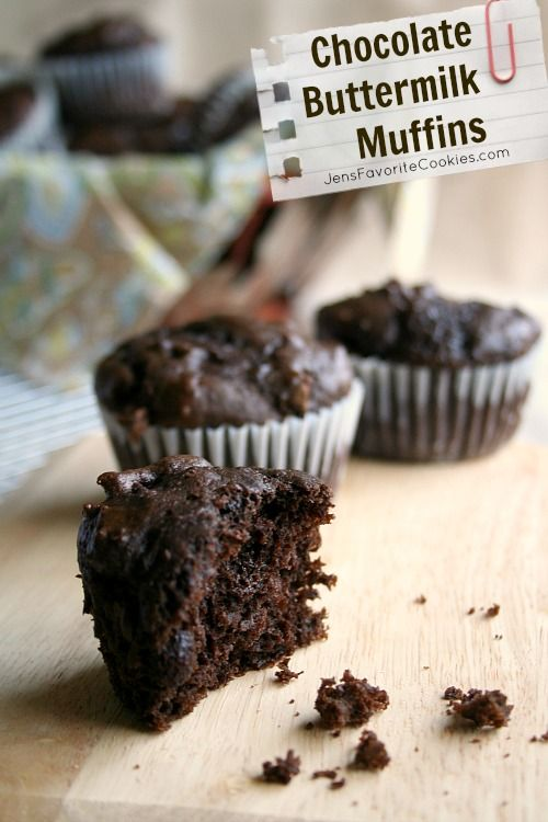Chocolate Buttermilk Muffins from JensFavoriteCookies.com  -  These taste similar to the giant muffins from Costco and are guaranteed to satisfy your chocolate cravings!
