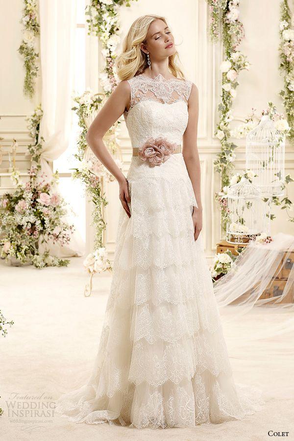 colet bridal 2015 style 25 coab15309ivpk sheer illusion neckline tiered a line wedding dress
