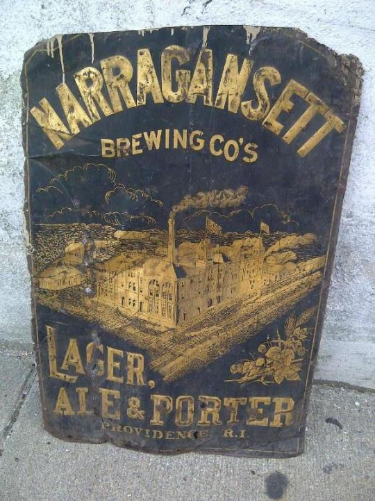 The original sign from the old Narragansett Brewery