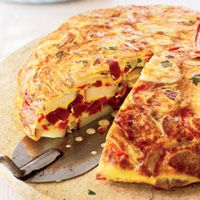 Spanish Tortilla with Chorizo and Peppers. My husband would love this; he loves chicken chorizo!