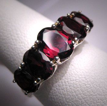 vintage garnet wedding ring band estate victorian deco