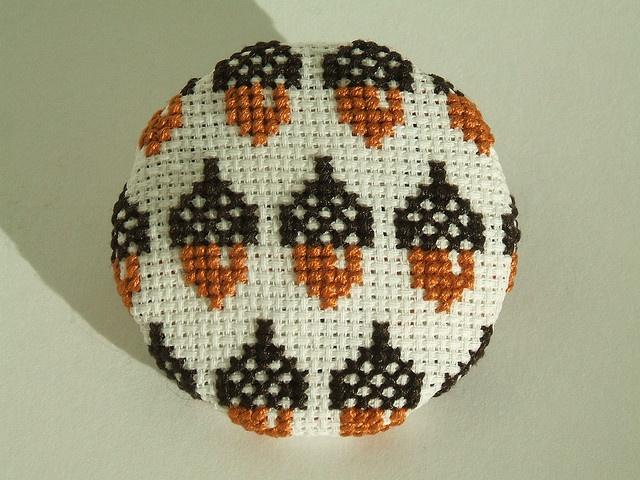 Acorn Cross Stitch Wallpaper Pin