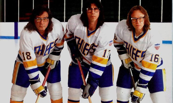 The Hanson brothers from the movie Slapshot, from left ...  The Hanson brot...