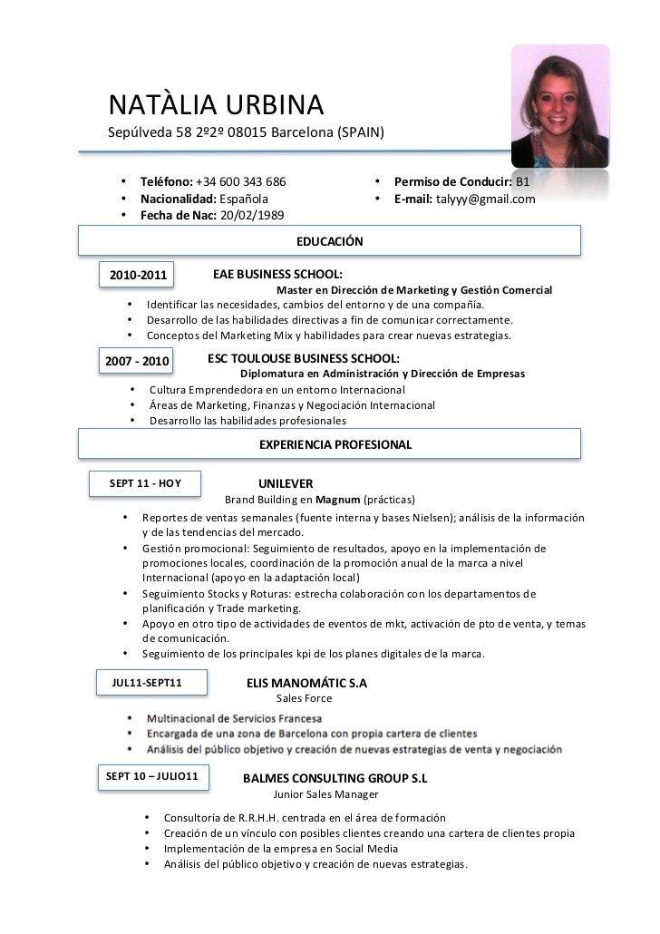 template cv espagnol