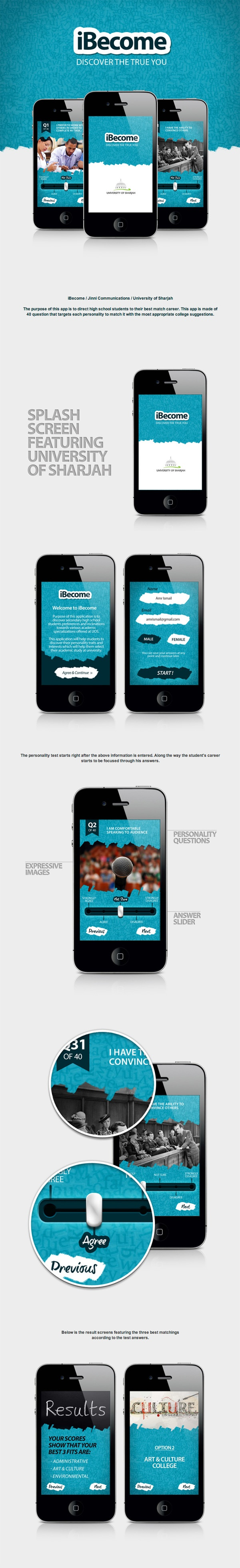 "iBecome App by Amr Ismail, via Behance *** "" The purpose of this app is to direct high school students to their best career match. """