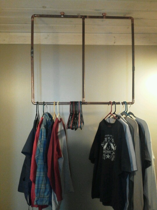 Clothes rack made from old copper pipe