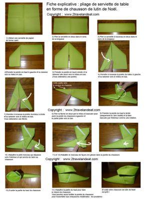Pour varier les plaisirs, voilà une autre technique de pliage de serviette, que je trouve vraiment trop chou! Après le pliage papillon, feuille ou sapin, voilà le pliage en chausson de lutin! Les e…
