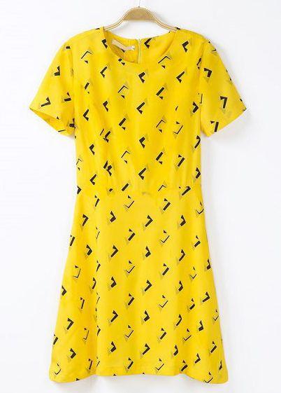 Yellow Short Sleeve Geometric Print Dress US$27.67 1