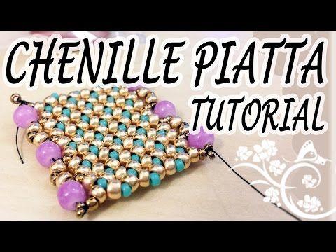 Tutorial spirale Chenille con perline - Come fare bracciale o collana con perline - Tecnica Chenille - YouTube