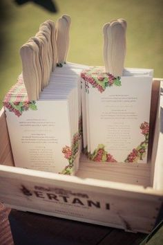 Creating your own ceremony program fans is a piece of (wedding) cake! These programs maintain the traditional program shape with the addition of the heavy duty popsicle stick for some serious fanning.