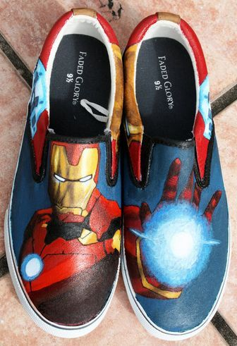 e8b125dc01 Iron Man Hand Painted Shoes Handpainted Canvas Shoes