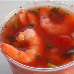 Red Party Bite: Authentic Mexican Shrimp Cocktail.