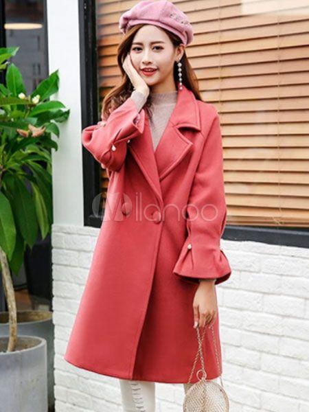 f399e2f246b0 Woolen Winter Coat Women Bell Sleeve Beaded Oversized Coat  Coat ...