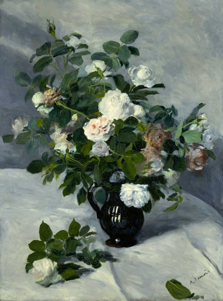 "Pierre-Auguste Renoir: Oil Painting, ""Still Life with Roses"" (1866) [Harvard Art Museum, Cambridge]"