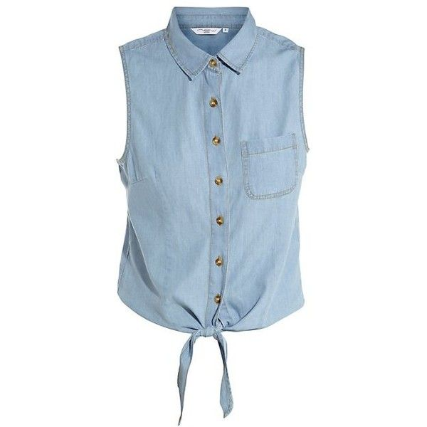 Pale Blue Denim Tie Front Sleeveless Shirt ❤ liked on Polyvore featuring tops, blouses, shirts, kauluspaidat, tie front blouse, denim tie front shirt, blue denim shirt, no sleeve shirt and sleeveless blouse