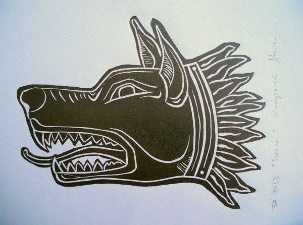 Linocut, head of Draco - the ancient war standard of the Dacians