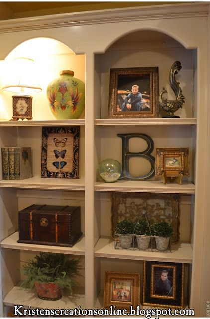 How to decorate shelves - cool blog too