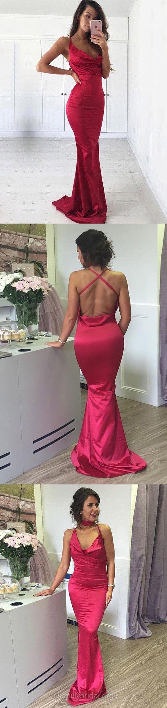 Red Prom Dresses, Long Prom Dresses, 2018 Prom Dresses For Teens, Silk-like Satin Prom Dresses Cowl Neck, Sheath/Column Prom Dresses For Girls