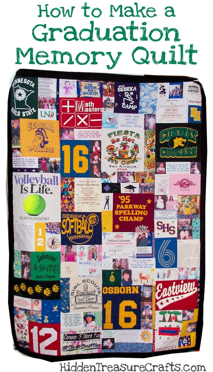 Katie's Graduation Memory Quilt - Check out this amazing graduation quilt made using t-shirts, photos, and much more. (http://hiddentreasurecrafts.com/katies-graduation-memory-quilt/)