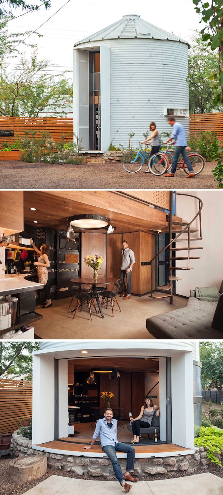 Architect Christoph Kaiser turned a 340-square-foot grain silo into a two-story home for him and his wife.