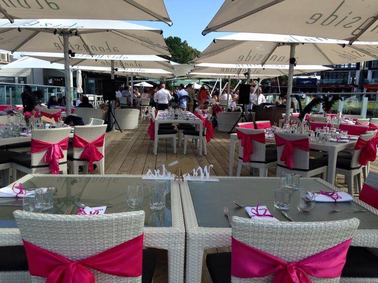Wedding set up at Alongside in Paihia.  Gorgeous Pink Fushia.  Hire from www.allureweddings.co.nz
