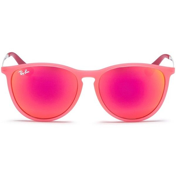 Ray-Ban 'Izzy' rubberised frame metal temple junior mirror sunglasses ($55) ❤ liked on Polyvore featuring accessories, eyewear, sunglasses, red, ray ban sunglasses, red mirror sunglasses, ray ban sunnies, red mirrored sunglasses and mirrored sunglasses