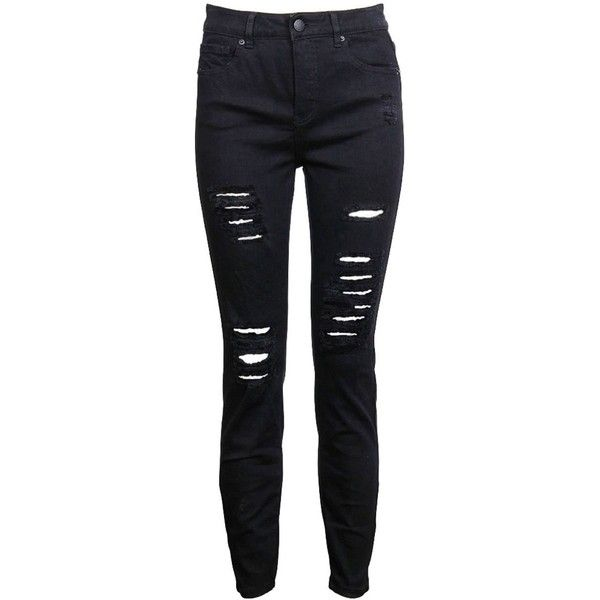 Luxe High Rise Distressed Jean ($86) ❤ liked on Polyvore featuring jeans, distressed jeans, zip fly jeans, destroyed jeans, high waisted distressed jeans and zipper jeans