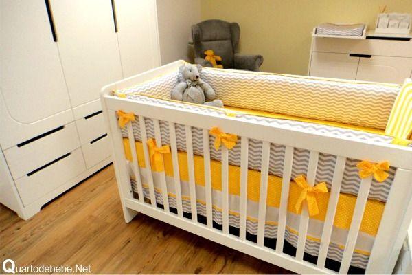 Quarto de bebê enxoval amarelo e cinza chevron Quartos