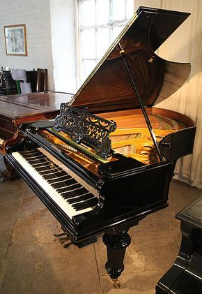 An 1896, Bechstein Model V grand piano with a polished, black case. Piano has a fish-tail case with a filigree music desk and heavy, turned legs £15,000 http://www.besbrodepianos.co.uk/piano-sale/bechstein-model-V-grand-piano-antique-1.htm