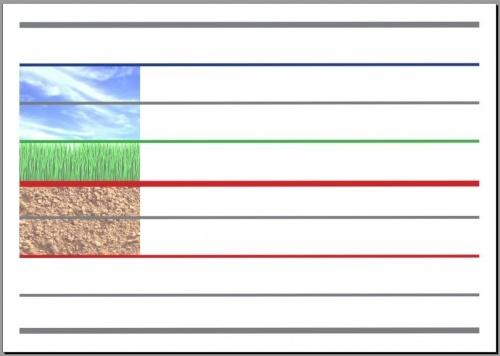 Vers l'écriture cursive, affiche mixte : lignes guides terre-sol-ciel et seyes…