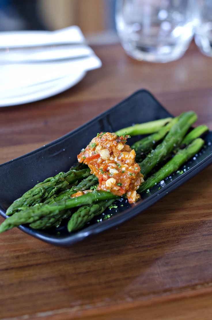 Asparagus with Romesco Sauce.