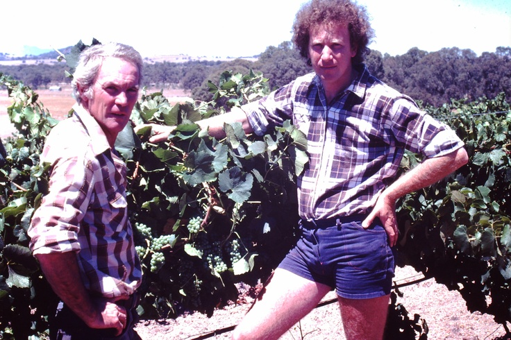 The late Trevor Mast with long-time friend and work colleague Viv Thomson in the Concongella Vineyard
