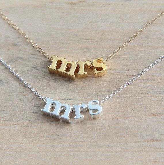 Mrs. Necklace Sterling Silver Mrs. Necklace Gold by JewelleryJKW