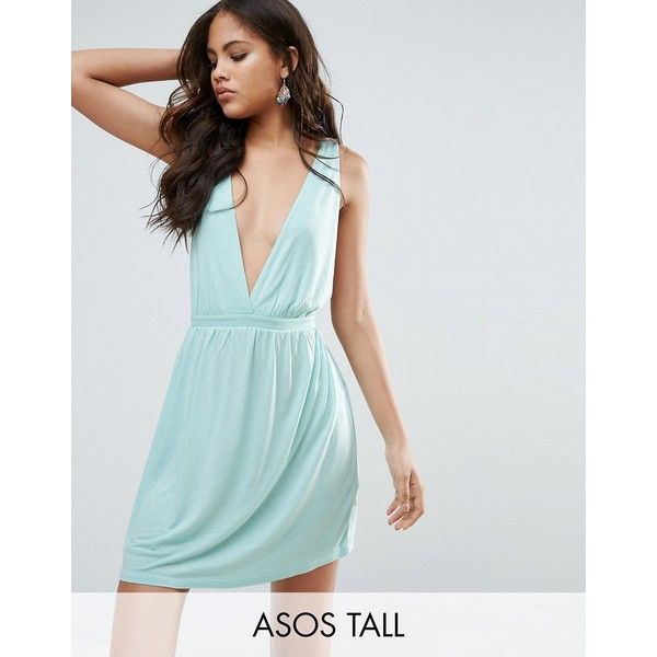 ASOS TALL Cross Back Jersey Mini Beach Dress ($24) ❤ liked on Polyvore featuring dresses, blue, v neck jersey, blue v neck dress, blue jersey, v-neck jersey and beach dresses