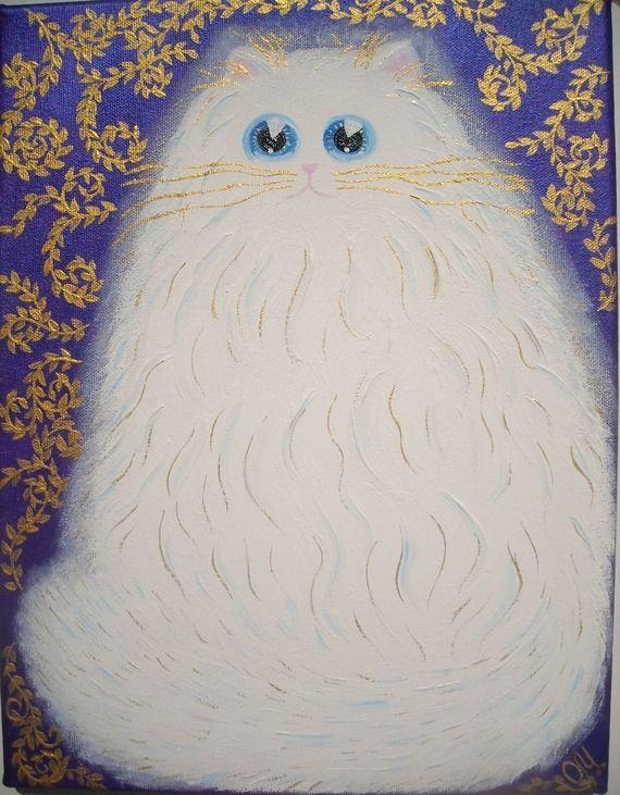 """Peinture acrylique """"Chat Tendresse"""" sur toile de coton. Le chat blanc avec les yeux bleus et reflets dorés. Les feuilles dorées sur le fond du tableau brillent sous la lumière. Les bords du tableau sont peints de la même couleur violette que le fond de la toile. Les dimensions: 35 * 26,5 * 1,5 cm. Prêt à accrocher."""