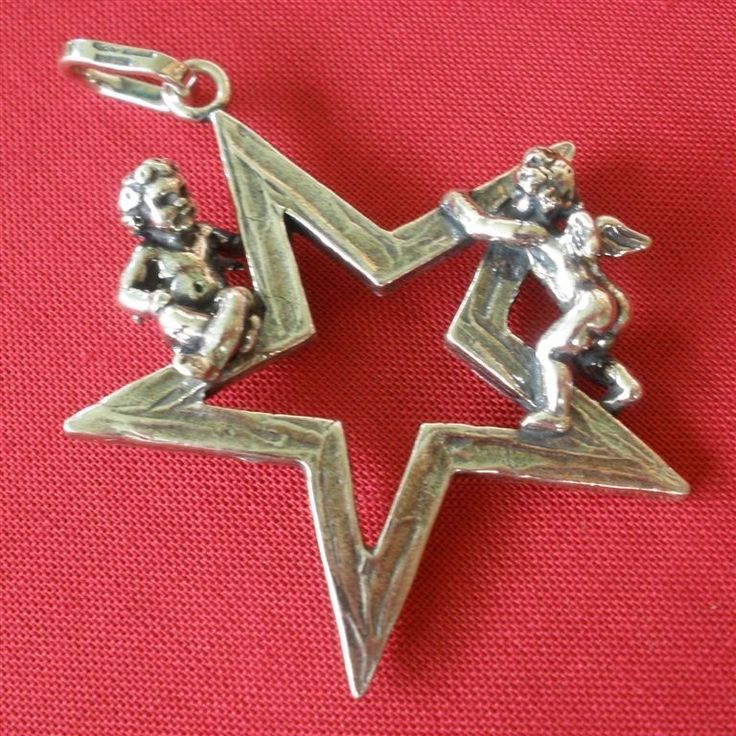 Giovanni Raspini Italy 925 Silver Star with 2 Angels Pendant #GiovanniRaspini #Pendant