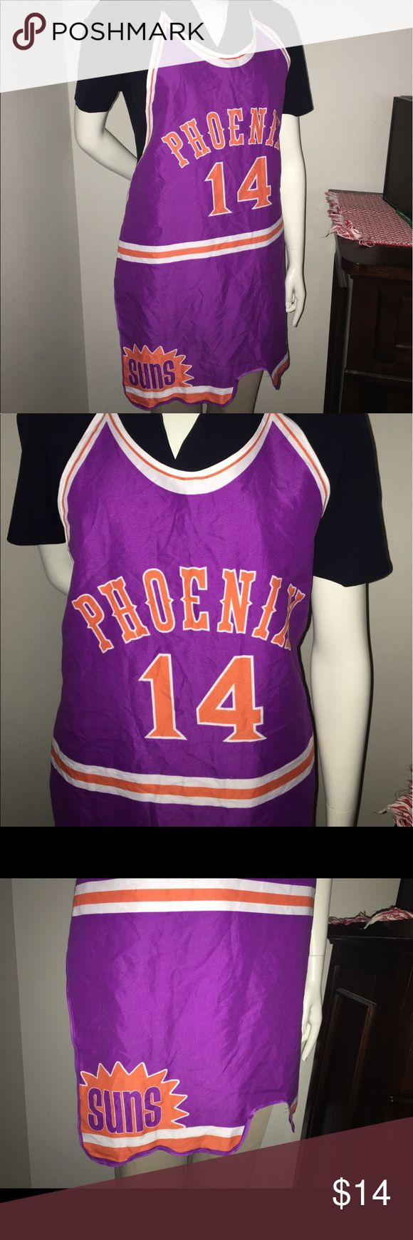 Jeff hornacek classic phoenix apron NWOT Thank you for viewing my listing, for sale is an adult, men's or women's, vintage looking, Phoenix Suns, Jeff Hornacek #14, apron. This apron looks like the old-school classic Phoenix Suns jersey with the little short shorts.   New without tags.   If you have any questions or would like additional photos please feel free to ask. NBA Accessories