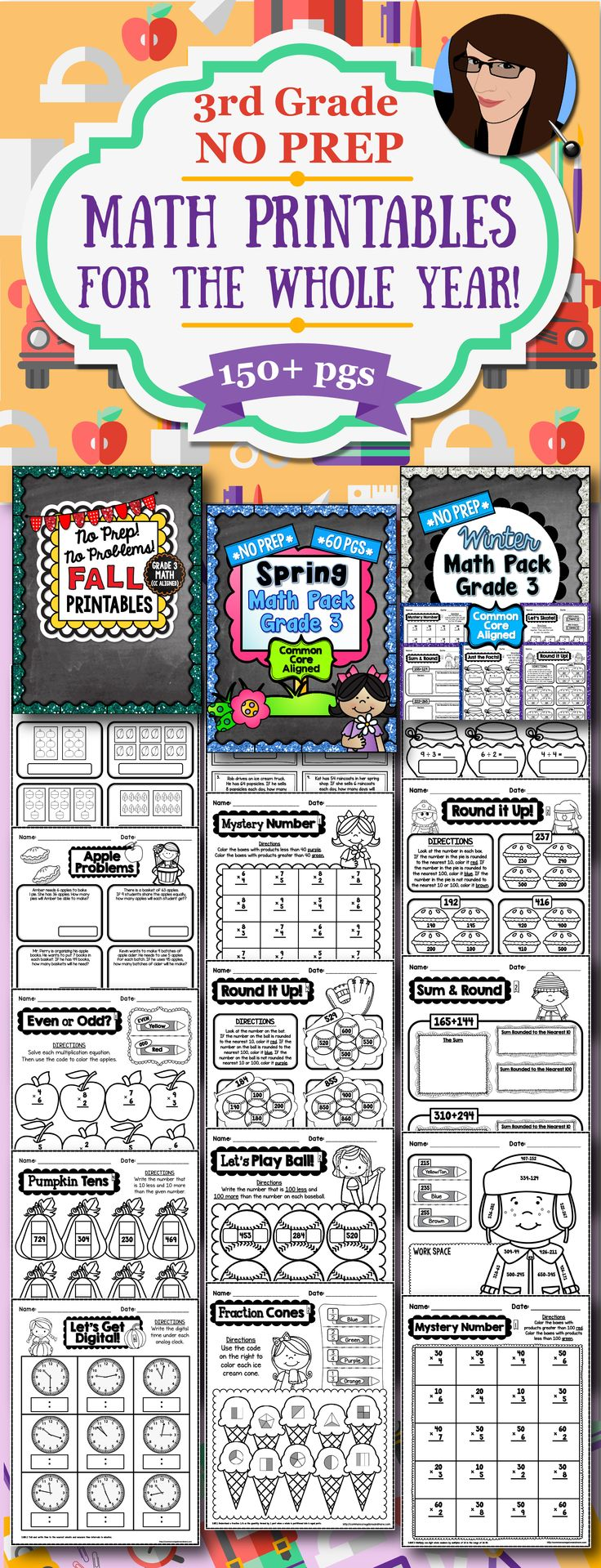 Seasonal No Prep Math Printables for the Whole School Year - 3rd Grade (135+ pages)