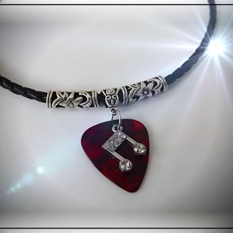 Music Note Guitar Pick Necklace . Music Jewellery Online are proud to offer this totally customisable piece of guitar pick jewelry. Choose your colour, style and options to be totally unique! Great gift for any music lover! http://www.musicjewelleryonline.uk/product/music-note-guitar-pick-necklace-chrissie-c-special