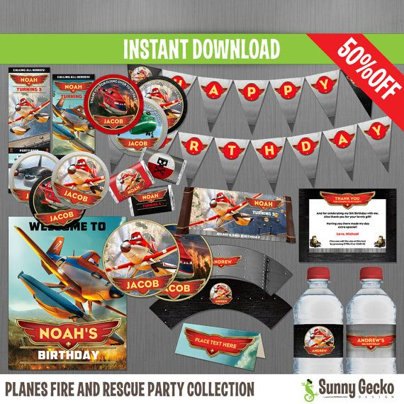 Disney Planes Fire and Rescue Birthday Party Collection - Instant Download and edit with Adobe Reader by SunnyGeckoDesign