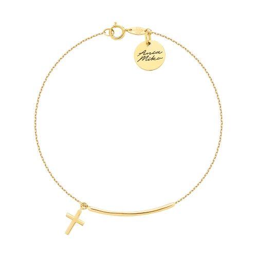 Delikatna złota bransoletka z krzyżykiem i łącznikiem.  Na żywo wygląda pięknie.  Doskonała na prezent  Całosc złoto 14K próba 585