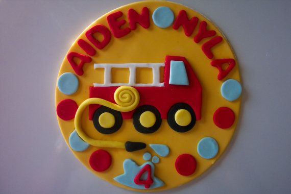 Fire Truck Edible Fondant  Cake Topper by cookiecovers on Etsy, $18.95
