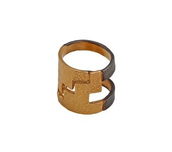 Handmade open ring made of gold plated silver 925o and black platinum plated silver - Χειροποίητο ανοιχτό δαχτυλίδι από επιχρυσωμένο ασήμι 925ο και μαύρο πλατίνωμα @  http://www.theodorajewellery.com/jewel/gr/2148/