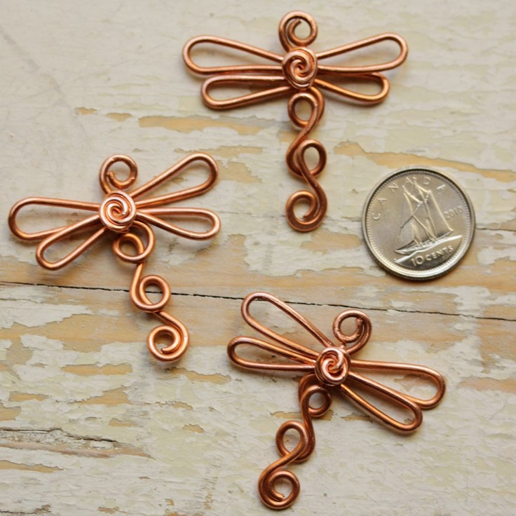 Wire Dragonfly Solid Copper - Large Dragonflies - Handmade Wirework Connector, Charm, or Pendant, Recycled Copper. $12.00, via Etsy.