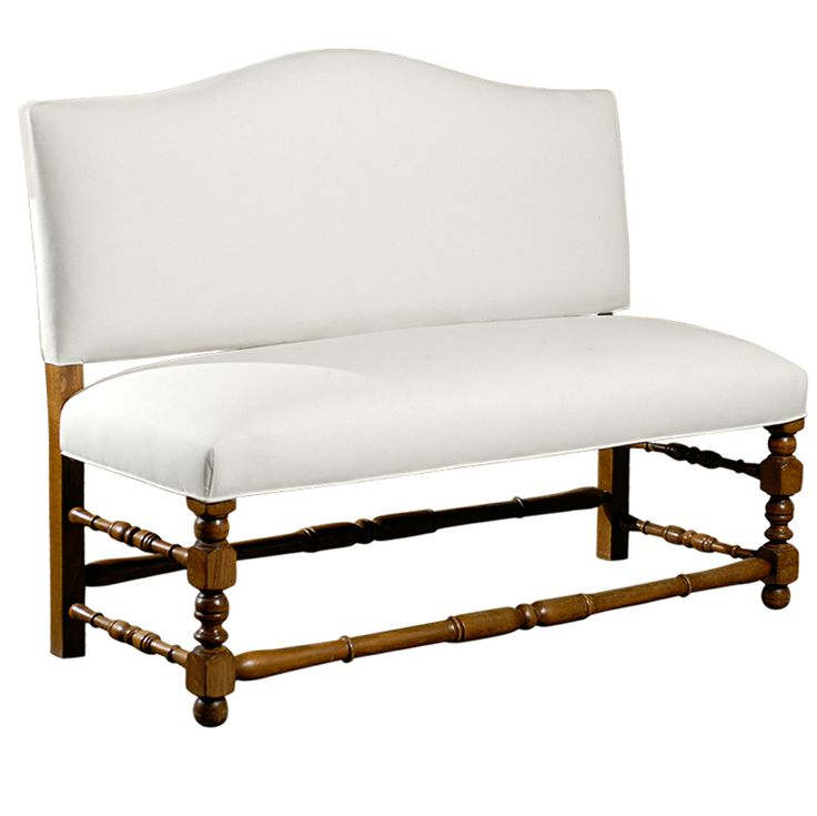 French Upholstered Bench with Back From a unique