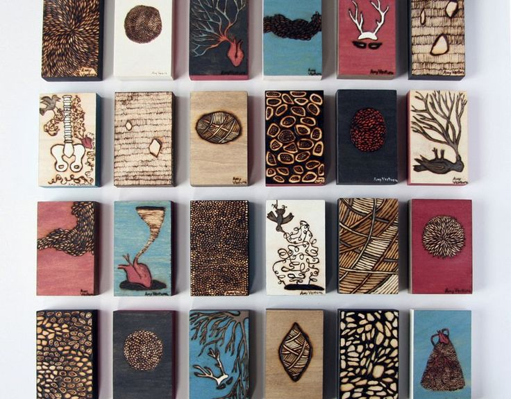 Small works from Chicago Printmakers Collaborative Annual Holiday Show   bird, nest, woodburning, engraving, art, artwork, brown, black, white, wood, hummingbird, texture, nature, patterns, brown, green, red, wings, flying, antlers, heart, mask