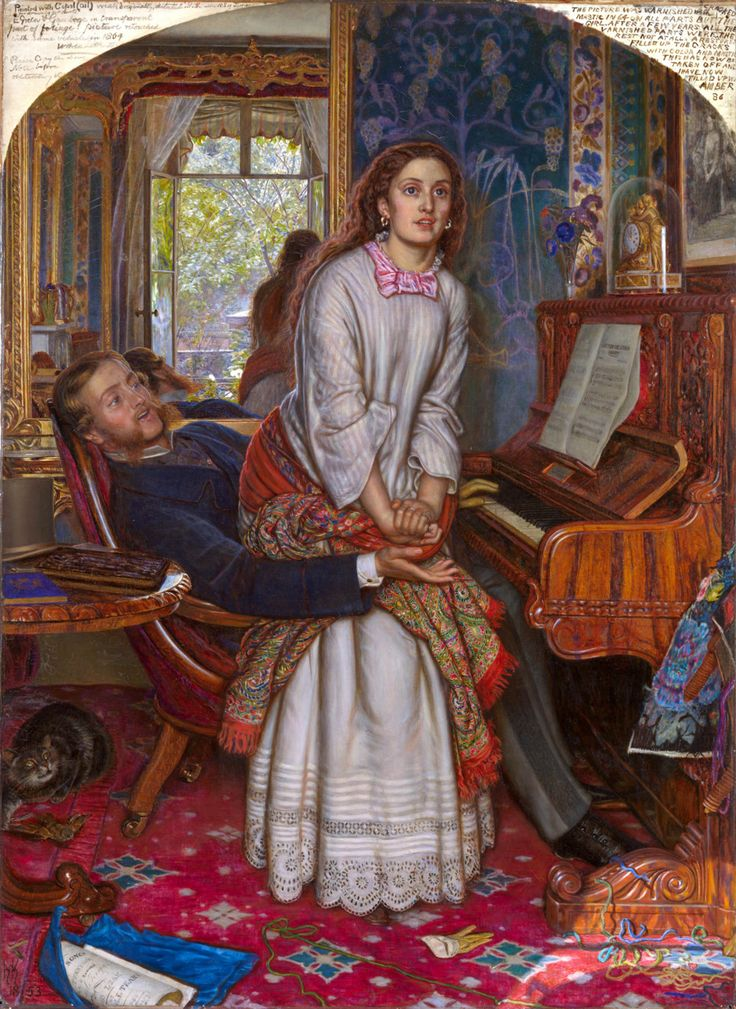 William Holman Hunt.  The Awakening Conscience.1853. Phryne' morning is interrupted by a visit from her sister Elizabeth and 'a person' by the name of Mrs. Manifold who worked as a model for the artist Hunt among the Brotherhood of  Pre-Raphaelite painters in her youth.  She claims her son has been murdered and needs Phryne's investigative help.