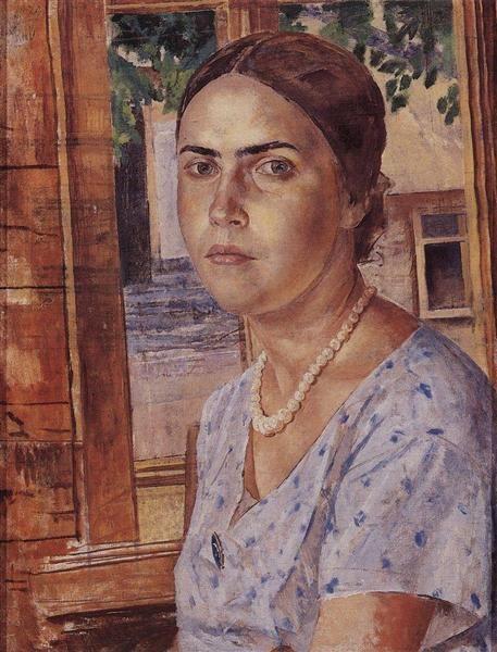 Девушка у окна - Кузьма Петров-Водкин  1928