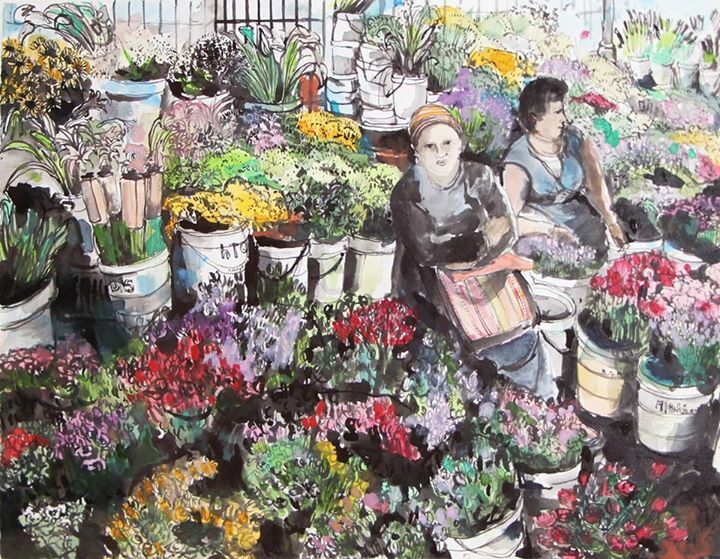 'The Adderly Street Flower Sellers' | Ink and Watercolour on Paper  | R4800 SOLD
