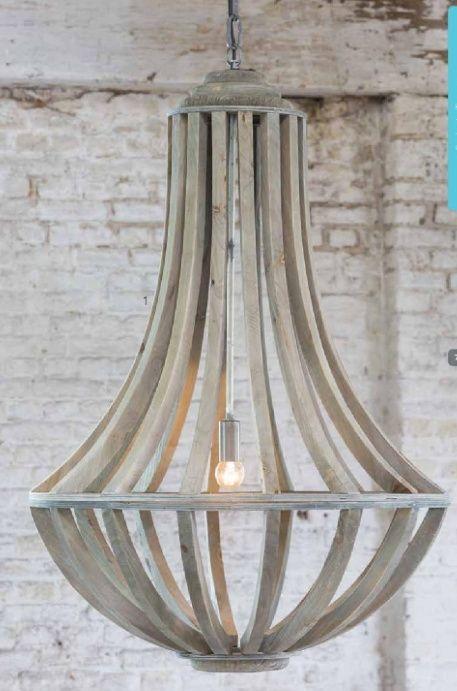 Landelijke houten kroonluchter hanglamp